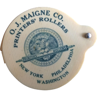 Celluloid Advertising Magnifying Glass - Printers' Rollers