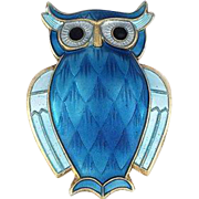 David Andersen Sterling Silver & Blue Enamel Owl Pin