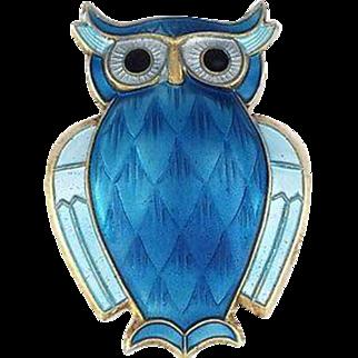 David Andersen Sterling Silver & Blue Enamel Owl Pin