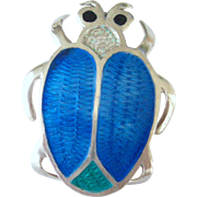 Sterling Mexican Guilloche Enameled Beetle Pin or Brooch Signed Fuentes