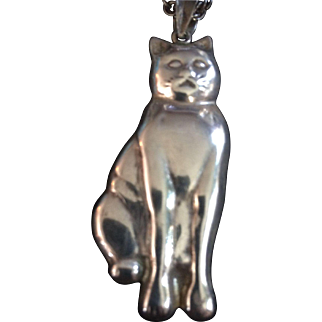 Sterling Silver Puffy 3D Cat Pendant & Chain
