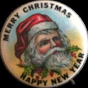 "Santa 1 1/4"" Celluloid Pinback"