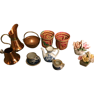Doll Accessory Lot - Copper Pans, Baskets, China