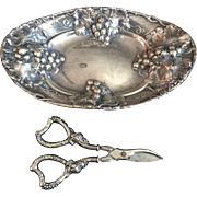 Mauser Manufacturing Sterling Grape Shears and Fruit or Bread Dish