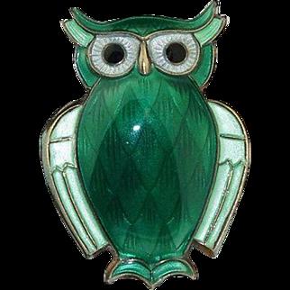 Vintage David Andersen Sterling Silver & Green Enamel Pin