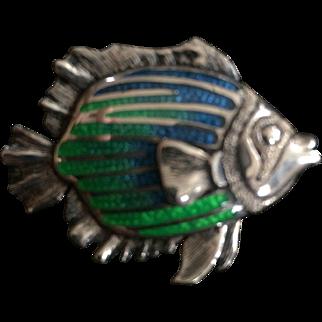Kabana Sterling Silver & Enamel Fish Pin