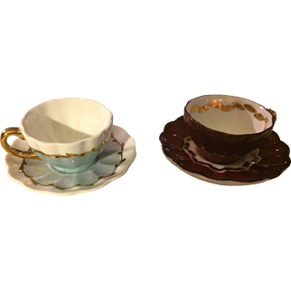 Set of 2 Miniature Doll Size Artone Bone China Cup & Saucer - England