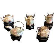 Dollhouse Miniatures - 5 Teapots on Stands