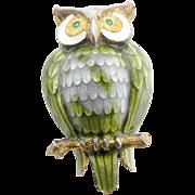 Sterling Silver & Enamel Owl Pin - Norway Finn Jensen Basse Taille