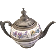 Graniteware Enamel & Pewter Teapot - Painted Violets