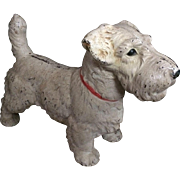 Hubley Doorstop Terrier Dog - Antique Oversized Sealyham Dog Cast Iron