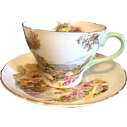 Shelley Bone China Heather Pattern Cup & Saucer