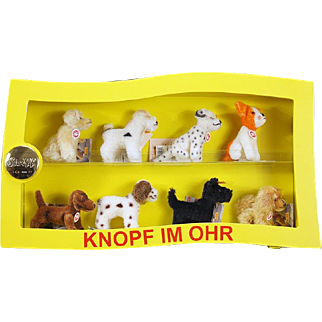 Steiff Display Case with 8 Mohair Dogs - Original buttons and tags