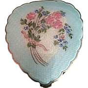 Sterling Silver and Enamel Heart Shaped Compact in Original Box
