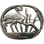 Large Sterling Oval Heron Pin
