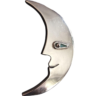 Sterling Taxco Man in the Moon Pin TR-124