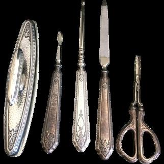 Webster Sterling Silver Vanity Nail Grooming Set - 5 pcs