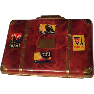 Vintage Travel Suitcase Shaped Make-up Compact