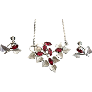 Van Dell Sterling Necklace and Screw Earrings Set