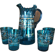 Victorian Blue Lemonade or Water Set - Handpainted