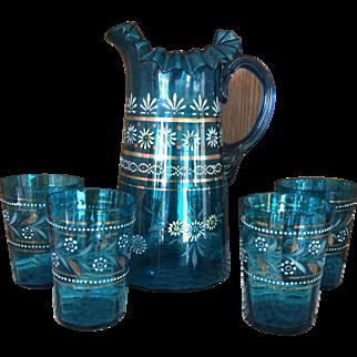 Victorian Blue Lemonade or Water Set - Handpainted