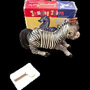 Vintage Jumping Zebra Tin Clockwork Wind Up Toy - Orig Box