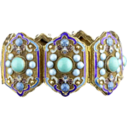 Vintage Chinese Export Gilt Silver Cloisonne Enamel And Turquoise Bracelet