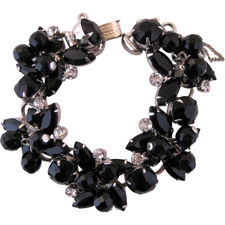 Vintage Juliana Black Glass and Clear Rhinestone Bracelet