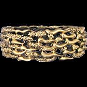 Vintage Tortolani Open Work Abstract Gold Tone Clamper Bracelet