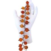 Vintage Handmade Agate Bead And Silver Bracelet