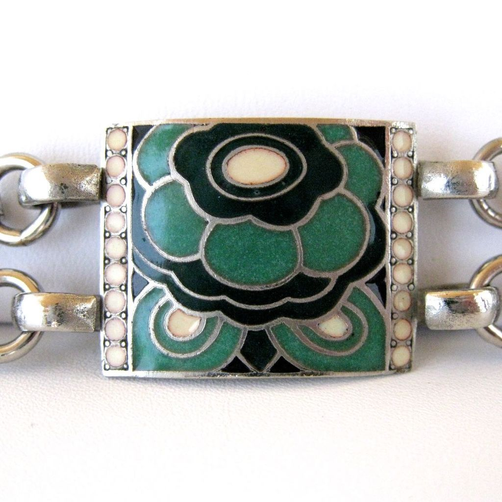 vintage french art deco cloisonne enamel link bracelet sold on ruby lane. Black Bedroom Furniture Sets. Home Design Ideas