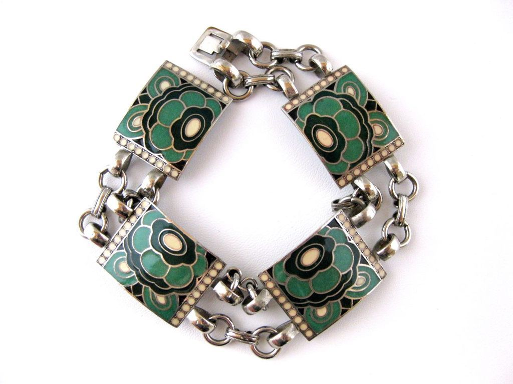 vintage french art deco cloisonne enamel link bracelet from rubylane sold on ruby lane. Black Bedroom Furniture Sets. Home Design Ideas