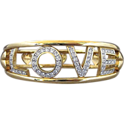 Vintage Swarovski LOVE And Heart Clear Rhinestone Hinged Bracelet