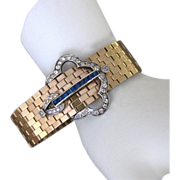 Vintage Dorsons Art Deco Gold Filled Rhinestone Buckle Bracelet In Original Box