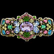 Vintage Hollycraft Pastel Rhinestone Hinged Clamper Bracelet