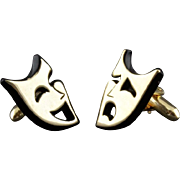 Vintage Swank Comedy Tragedy Theatre Mask Cufflinks
