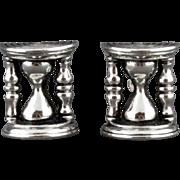 Vintage Swank Silver Tone Hourglass Cufflinks
