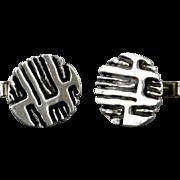 Vintage Robert Larin Round Organic Modernist Brutalist Style Cufflinks