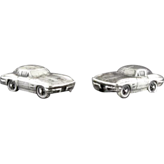 Vintage 1963 Corvette Sting Ray Split Window Coupe Cufflinks By Balfour