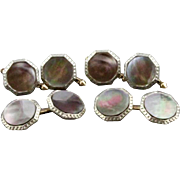 Vintage Larter & Sons Dark Mother Of Pearl Cufflink And 4 Piece Shirt Stud Set