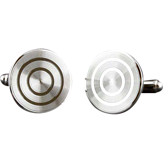 Vintage Sterling Silver Bullseye Cufflinks