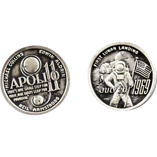 Vintage Apollo 11 First Moon Landing Commemorative Cufflinks