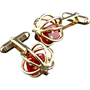 Vintage Three Dimensional Moveable Caged Red Lucite Dice Cufflinks