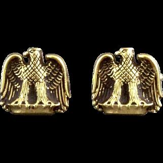 Vintage Sterling Silver Vermeil American Eagle Cufflinks