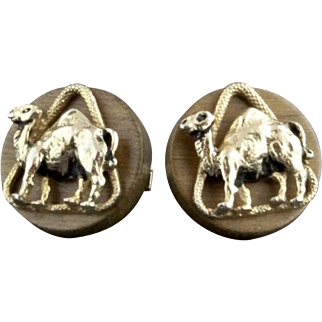 Vintage Camel And Genuine Wood Cufflinks By Swank