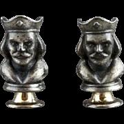 Vintage Three Dimensional King Chess Piece Cufflinks By Swank