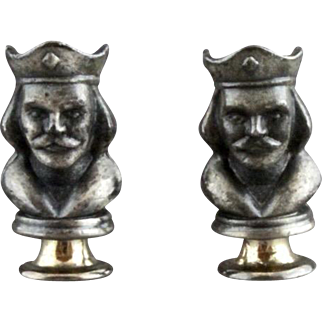 Vintage Three Dimensional King Chess Piece Cufflinks By Swank