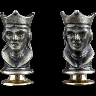Vintage Three Dimensional Queen Chess Piece Cufflinks By Swank