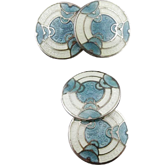Vintage Art Deco Sterling Silver Blue And White Guilloche Enamel Double Sided Cufflinks