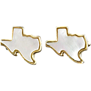 Vintage Mother Of Pearl State Of Texas Cufflinks